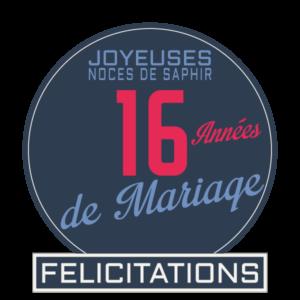 Joyeuses noces de saphir pour votre 16e année de mariage