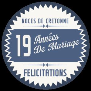 Joyeuses noces de cretonne pour votre 19e année de mariage