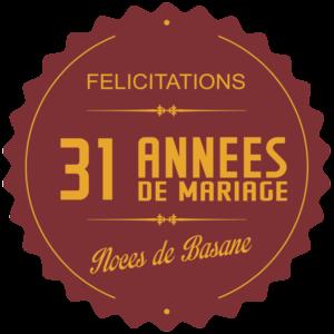 31 années de mariage : noces de basane