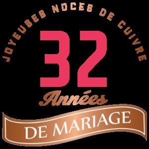 32 années de mariage : joyeuses noces de cuivre