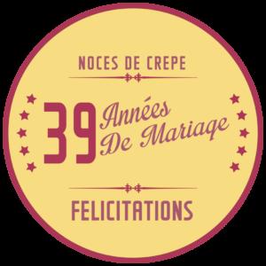 39 ans de mariage : noces de crêpe