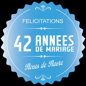 42 années de mariage : noces de nacre