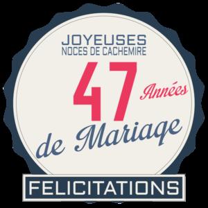 Noces de cachemire pour les 47 années de mariage